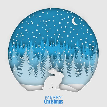 A hare sitting on a snowdrift in a snowfall, against the backdrop of a forest of Christmas trees. Christmas, New Years illustration. Paper style. Eps 10