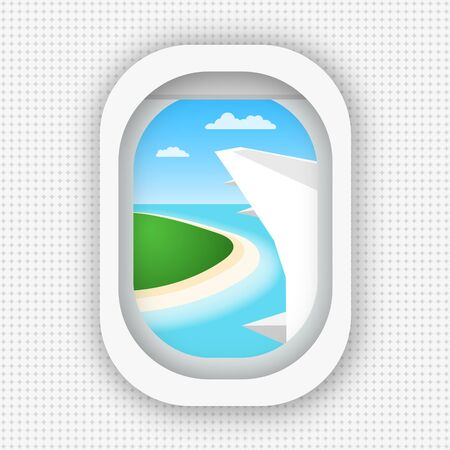 A view from a window of an airplane flying over the sea and the island. Flat style. eps 10 Çizim