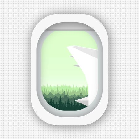 A view from a window of an airplane flying over the woods. Flat style. eps 10