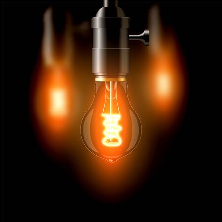 Old incandescent lamp, standard shape. On a dark background. Creates a cosiness. eps 10