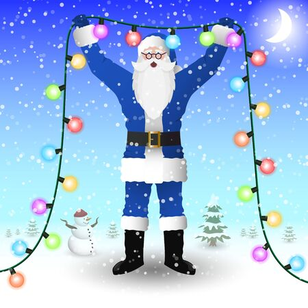 Santa Claus in a blue suit is holding a New Years illumination garland in his hands. Vector image.