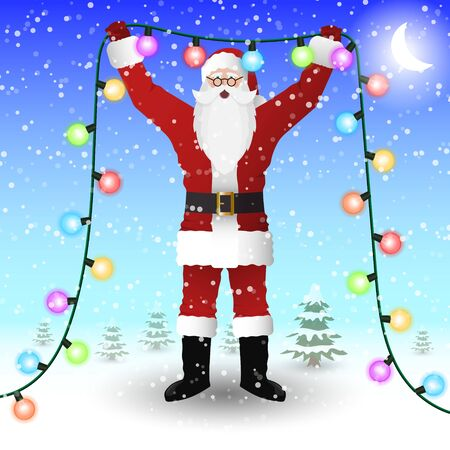 Santa Claus in a red suit is holding a New Years illumination garland in his hands. Vector image.