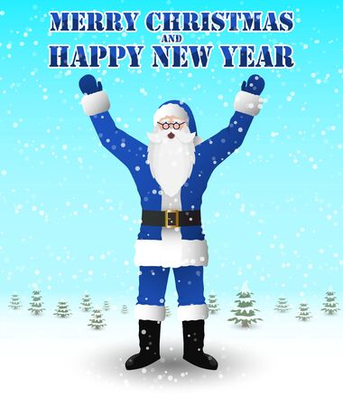 Santa Claus in blue suit congratulates Merry Christmas and a Happy New Year. Vector image. Ilustração