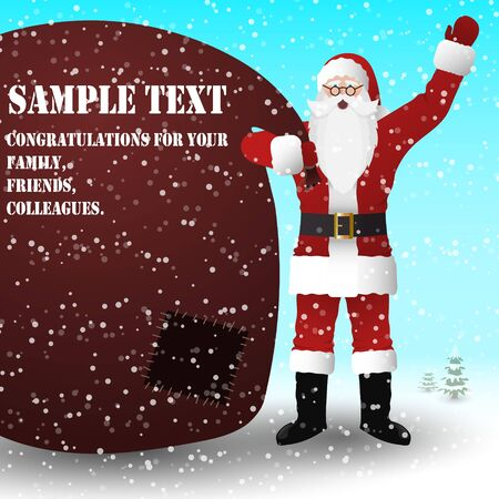 Santa Claus in a red suit with a huge bag of gifts, on the bag a place for your text. Vector image.