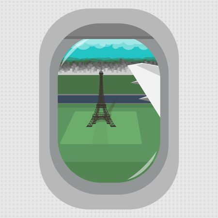A view from the window of a flying airplane over the Eiffel tower in Paris. Flat style. Vector image.