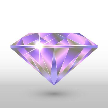 A diamond crystal. In purple tones. Vector image. Çizim