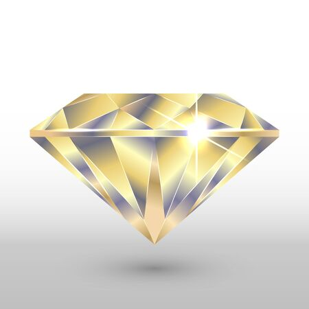 A diamond crystal. In gold tones. Vector image.