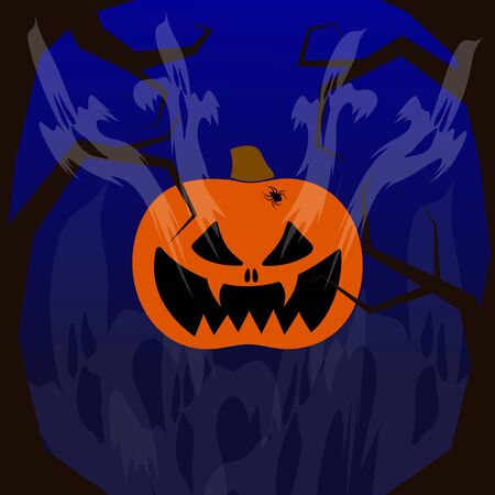 Happy Halloween. Pumpkin with a wicked smile. Flying ghosts. On the sides are terrible trees. On a dark background. Vector image. Çizim