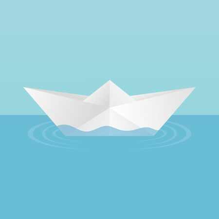 A children's toy boat made of paper afloat, leaving circles of ripples on the water. On a blue background. Vector image. Standard-Bild - 131428220