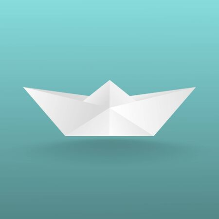 Childrens toy boat made of paper. With a shadow on a turquoise background. Vector image.