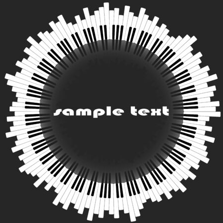 Piano keys. The abstract circle, with a reflection in the center. Suitable for a musical instrument store. Vector image.