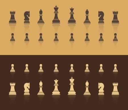 All figures are chess. In brown shades, with a shadow in the form of reflection. Flat style. Vector image. Иллюстрация