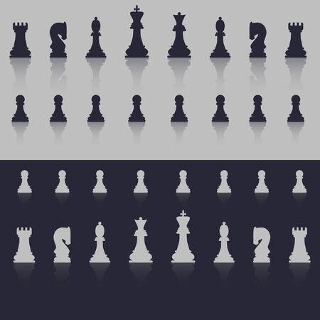 All figures are chess. In cold shades, with a shadow in the form of reflection. Flat style. Vector image.