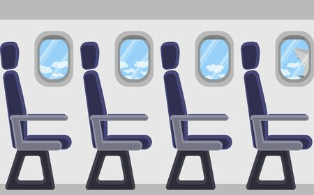 Passenger airplane from the inside. Portholes, seats. View of clouds and blue sky. Vector image.