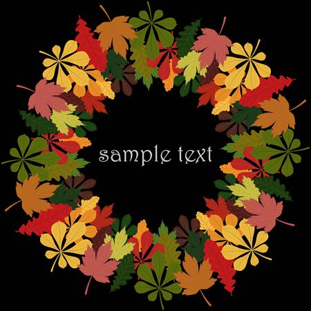 Round frame under the text or photo, from the colorful autumn leaves of oak, maple and chestnut. Vector image.