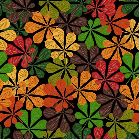 Seamless pattern. Autumn. Multicolored fallen leaves of a chestnut on a black background. Flat style. Vector image.