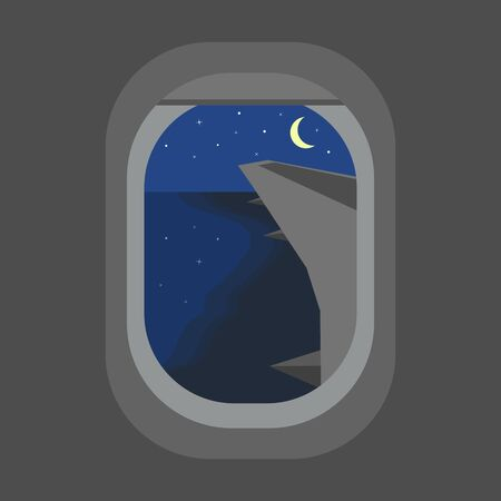 View from the porthole of the plane to the night shore and the moon. Road home from vacation. Flat style. Vector image. Illustration