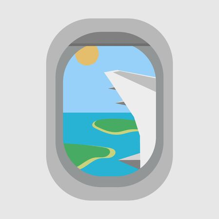View from the porthole of the plane to the islands and the sun. The beginning of summer vacation. Flat style. Vector image. Banque d'images - 131351091