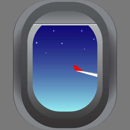 The view from the porthole of the aircraft to the wing and the starry evening sky. Vector image. Çizim