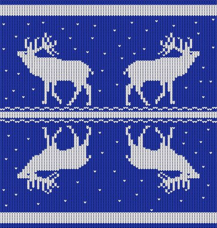 Seamless horizontal pattern with deers and snow from white knitted stripes on a blue background. Vector image.