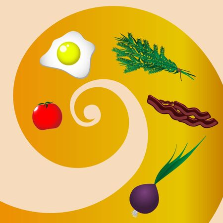 Ingredients for fried eggs. Vector image.