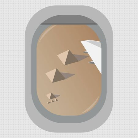 A view from the window of a flying airplane over the Egyptian pyramids in Giza. Flat style. Vector image.