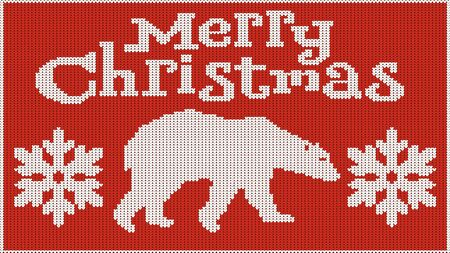 Background for the New Year mood. Merry Christmas. Knitted picture. Pullover. Bear and snowflakes. Creates heat. Vector image.
