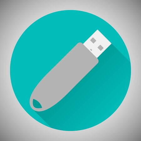 Icon USB flash drive. The information carrier. Flat style. Vector image. Ilustração