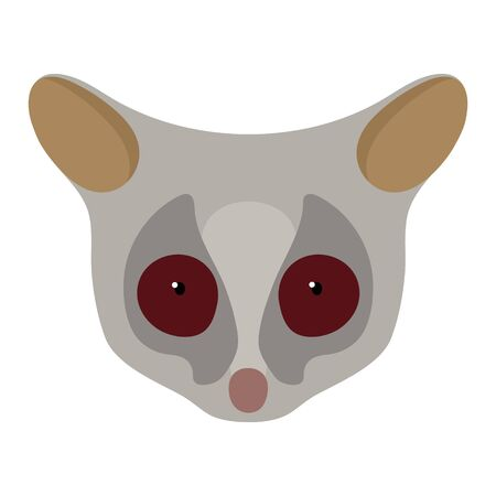 The Senegal bushbaby, Galago senegalensis, head of an animal. Flat style. Vector image. On a white background Иллюстрация