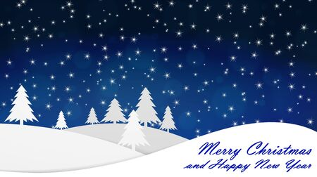 Merry Christmas and Happy New Year. Background. Evening, the snow falls. Vector image. Stok Fotoğraf - 131351069