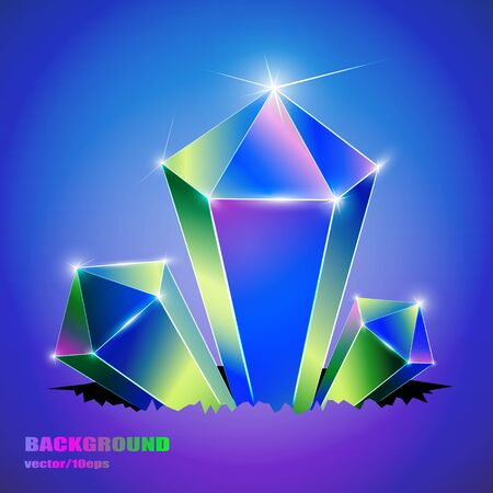 Art background. Colored crystals growing from a crack. Vector image.