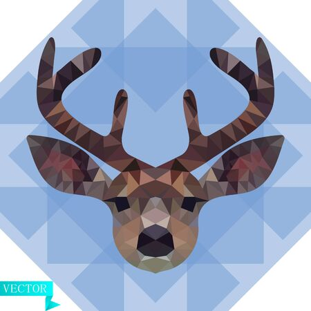 Polygonal head of a young deer in color. Against the background of blue, transparent triangles. Vector image.