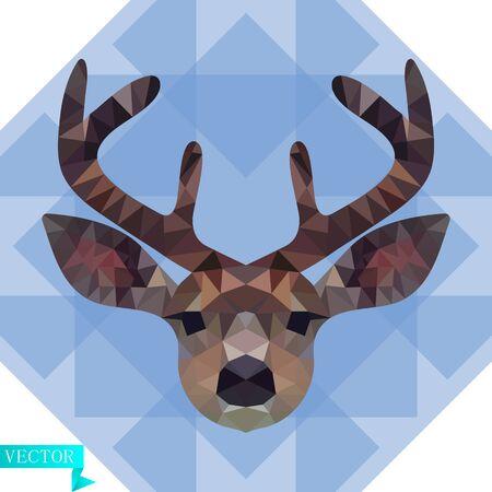 Tête polygonale d'un jeune cerf en couleur. Sur fond de triangles bleus et transparents. Image vectorielle.