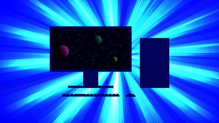 Silhouette of a personal computer against a background of a bright flash of light. On the monitor is a picture of the cosmos. Vector image.