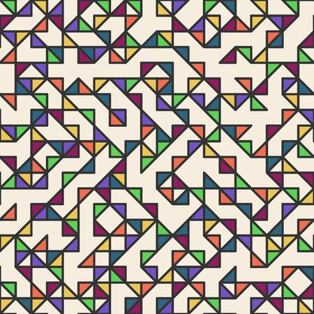 Seamless geometric simple pattern of colored triangles, mosaic. With black outline. Beige background. Wrapping paper.