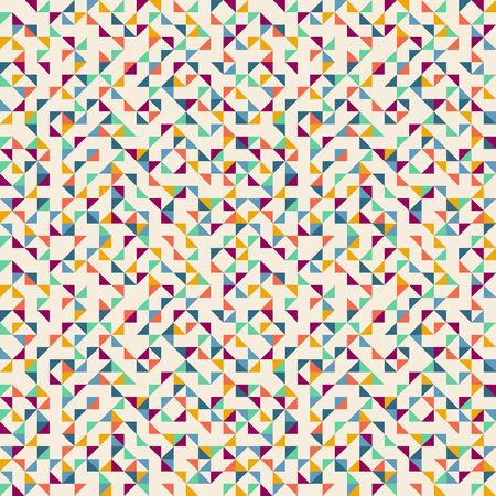 Seamless geometric simple pattern of colored triangles, mosaic. Beige background. Wrapping paper. Çizim