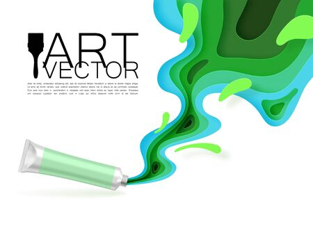 Ink is squeezed from a realistic tube of paint, paper style, cut out. Colored splashes and drops. Fashionable background for art theme promotion. Green Illusztráció