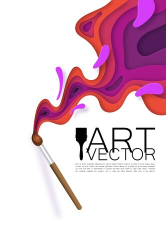 Realistic brush, artist. Stains of paint of different colors, in paper style, cut out. With shadow. Fashionable background for art theme promotion.