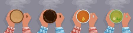 Set womens hands in a sweater are warming, a cup of black tea with a slice of lemon, hot chocolate, green tea with chamomile and mint, black coffee. View from above. With shadow. Evaporation.  Иллюстрация