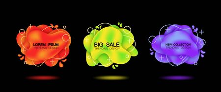 Set of three trendy banners with shadow. Isolated Red, yellow, purple colors with a gradient. On black background.