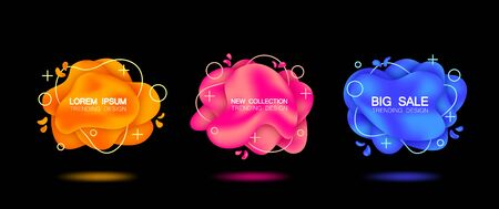 Set of three trendy banners with shadow. Isolated Orange, pink, blue colors with a gradient. On black background. Çizim