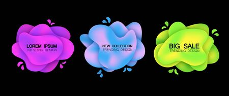 Set of three trendy banners with a gradient. Isolated, Violet, blue, green colors. On black background. Spray paint.