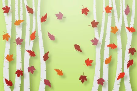 Autumn green background, voluminous multi-colored leaves of maple and oak, trees cut from paper, in layers. Template, blank.