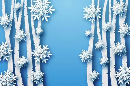 Winter background in blue tones, voluminous snowflakes and trees cut from paper, in layers. Merry Christmas. Template, blank.
