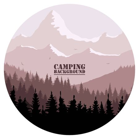 Round logo for camping, hunting season. Silhouette of spruce forest and mountains on the horizon. Birds are flying. Calmness, pacification. In red brown tones.