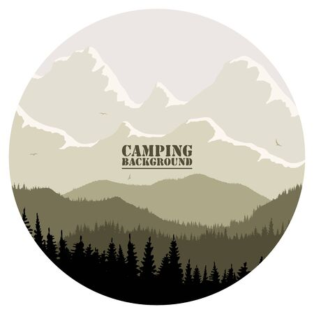 Round for camping, hunting season. Silhouette of spruce forest and mountains on the horizon. Birds are flying. Calmness, pacification. In beige tones.