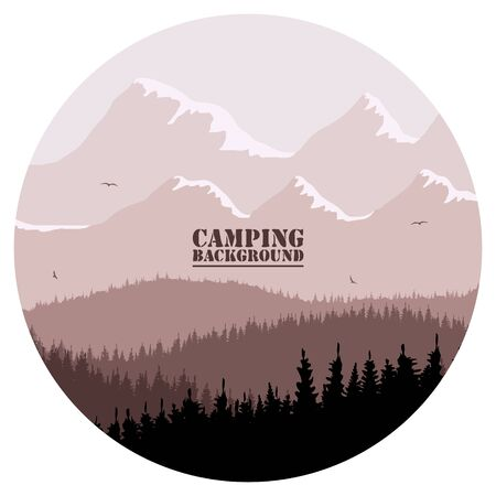 Round for camping, hunting season. Silhouette of spruce forest and mountains on the horizon. Birds are flying. Calmness, pacification. In red brown tones.