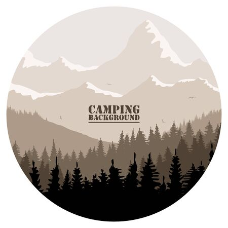 Round for camping, hunting season. Silhouette of spruce forest and mountains on the horizon. Birds are flying. Calmness, pacification. In brown tones. Çizim