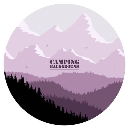 Round for camping, hunting season. Silhouette of spruce forest and mountains on the horizon. Birds are flying. Calmness, pacification. In purple tones. Çizim