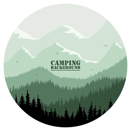 Round for camping, hunting season. Silhouette of spruce forest and mountains on the horizon. Birds are flying. Calmness, pacification. In green tones.